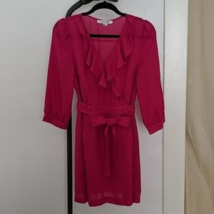 Forever21 Fuchsia v-neck ruffle dress Large